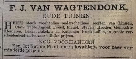 FJ van Wagtendonk had a shop in Ou Tuin - Paarl District Advertiser, 11 September 1885