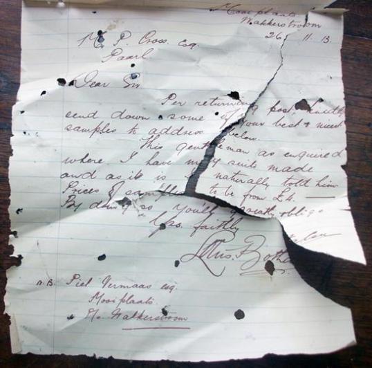 'n Brief van Genl. Louis Botha aan die kleremaker PM Cross van die Paarl