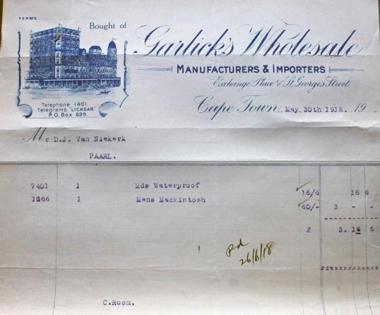 'n Faktuur van die bekende Garlick's winkel in Kaapstad - 1918