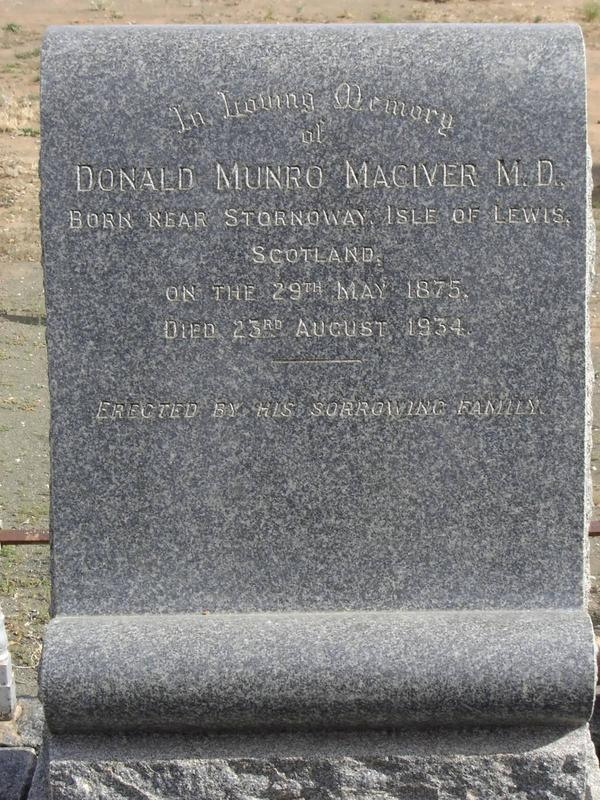 MACIVER Donald Munro Petrusville BP